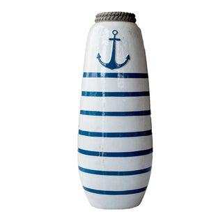 Navy Blue & White Striped Anchor Vase