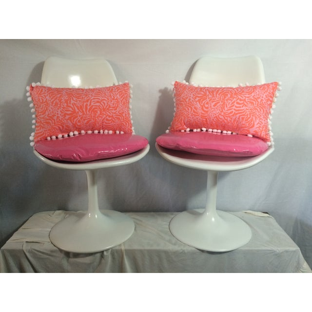 Image of Knoll Attri. Vintage White Tulip Chairs - A Pair