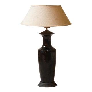 Japanese Black Porcelain Lamp