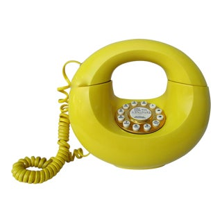 Bright Yellow Sculptura Donut Telephone Phone