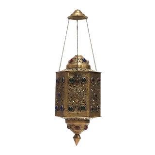 Jeweled Brass Moroccan Style Lantern