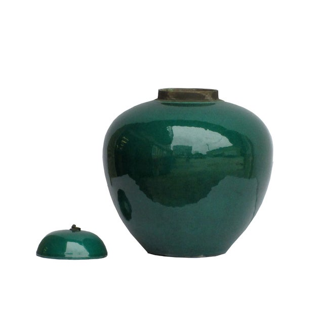 Image of Chinese Teal Green Porcelain Ceramic Fat Jar & Lid