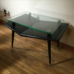 Image of Mid-Century Modern Black Wood & Glass Side Table