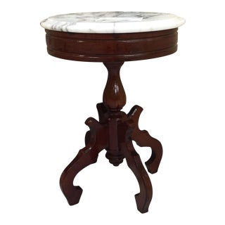 Victorian Italian Carrara Marble Top Mahogany Pedestal Table
