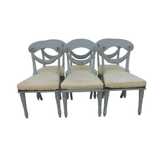 French Gustavian Carved Painted Chairs - S/6