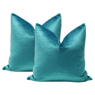 "22"" Caribbean Italian Silk Velvet Pillows - a Pair"