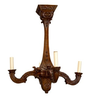 19th Century French Carved Walnut 4 Light Chandelier