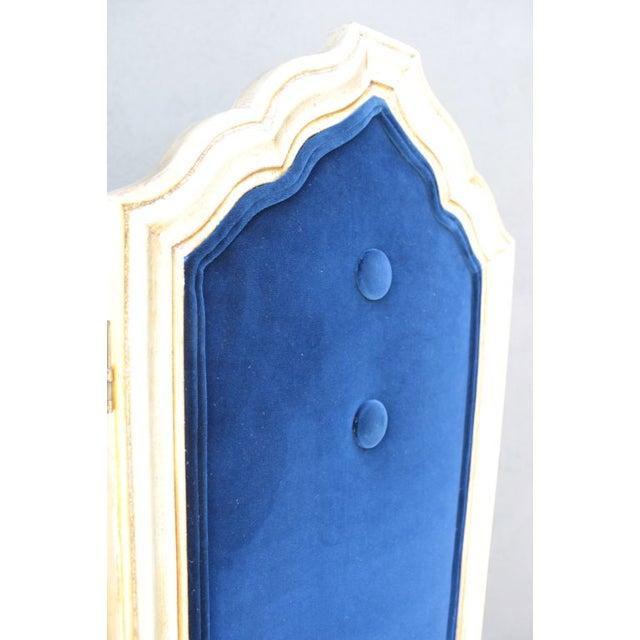 Blue Four Panel Regency Gilded Screen - Image 3 of 5