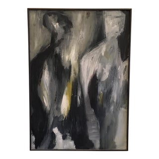 1960's Abstract Figural Oil Painting