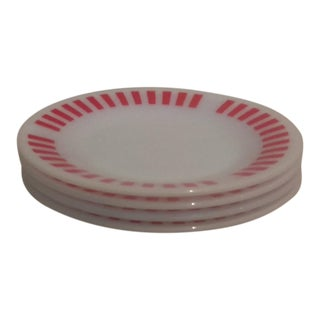 Hazel Atlas Red Candy Stripe Dessert Plates - Set of 4