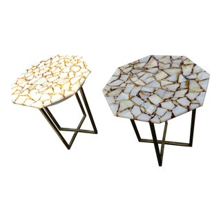 Resin Side Tables on Metal Base - A Pair