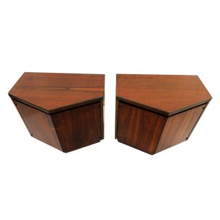 Mid-Century Modern Lane Walnut Nightstands - A Pair
