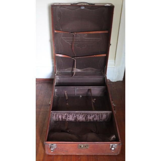 Vintage Worn Leather Suitcase - Image 4 of 8