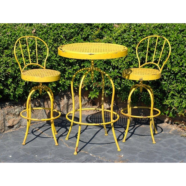 Yellow Metal French Bistro Garden Table & Chairs - Image 2 of 5