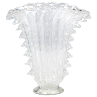 "Crystal Clear Murano ""Pulegoso"" Glass Vase"