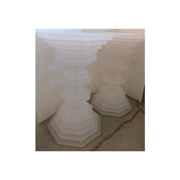 Image of Octagonal Opaque Lucite Pedestals - A Pair