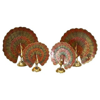 Brass Peacocks - Set of 4