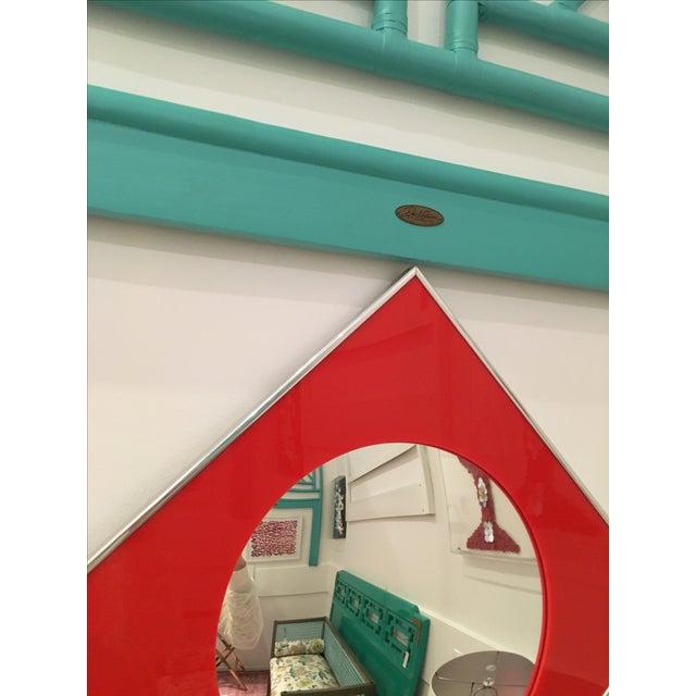 Carvers Guild Convex Mirror of Red Lucite and Chrome - Image 4 of 8