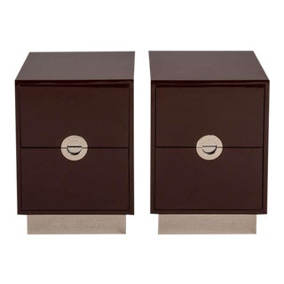 A Pair of Two Drawer Lacquered Bedside Cabinets by Talisman Bespoke