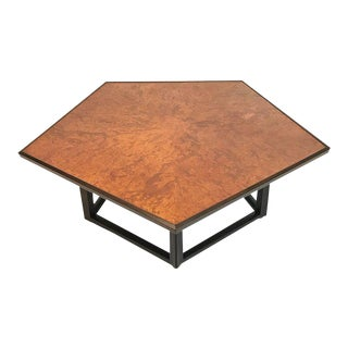 Sculptural Burled Elm, Mahogany, and Rosewood Pentagon Table by Dunbar