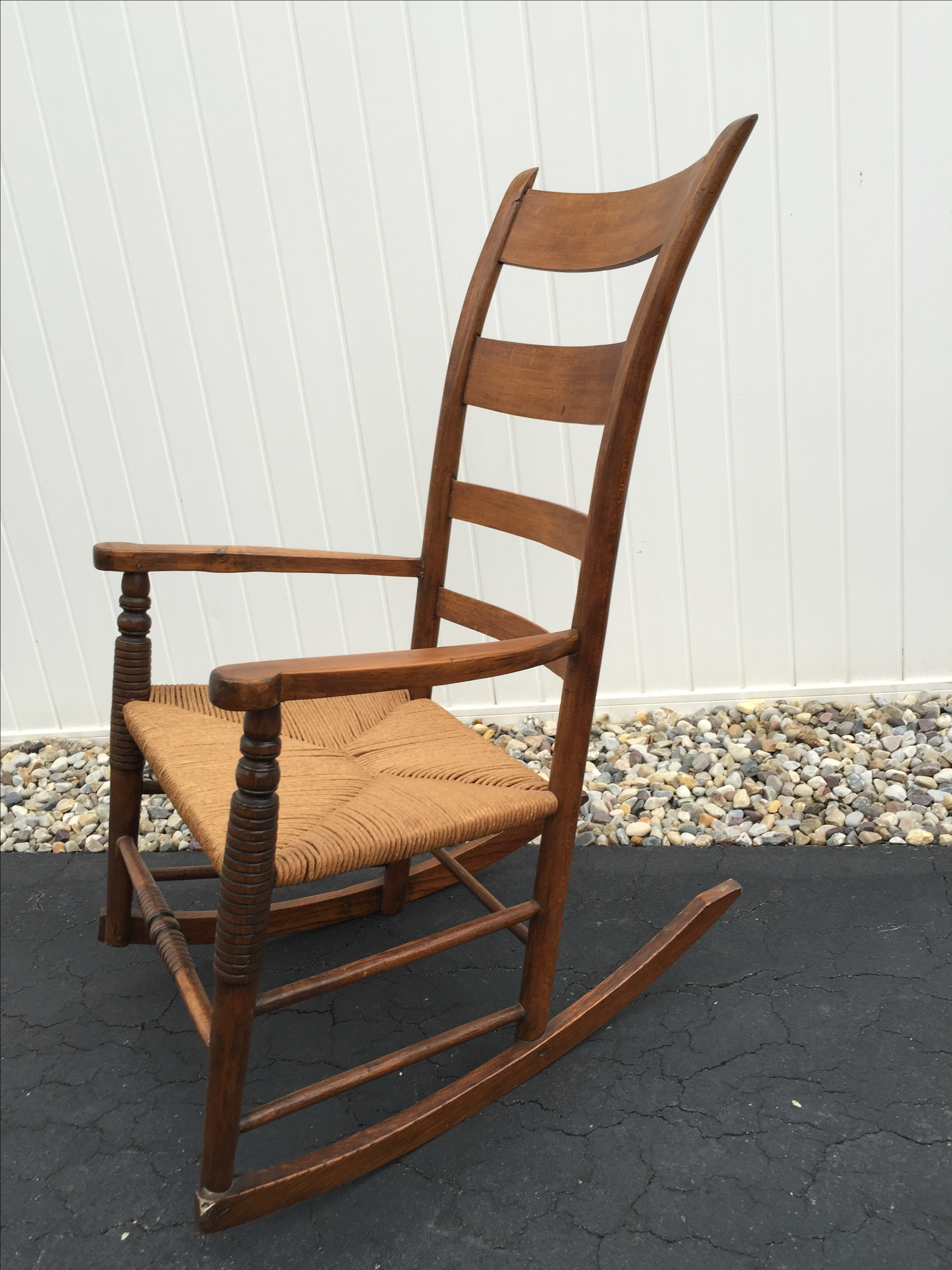 Antique leather rocking chair - Antique Maple Rush Rocking Chair Chairish