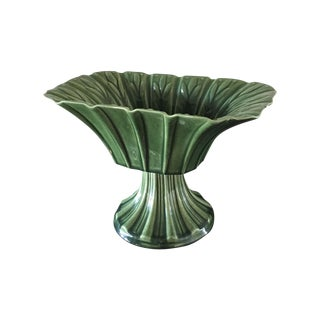 Green Acanthus Pedestal Bowl, Ceramic