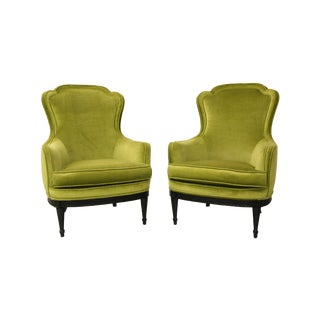 Mid Century Bergere Parlor Chairs - Pair