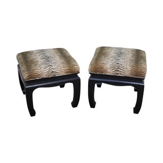 Ebonized Asian Influenced Ottoman/Benches - A Pair
