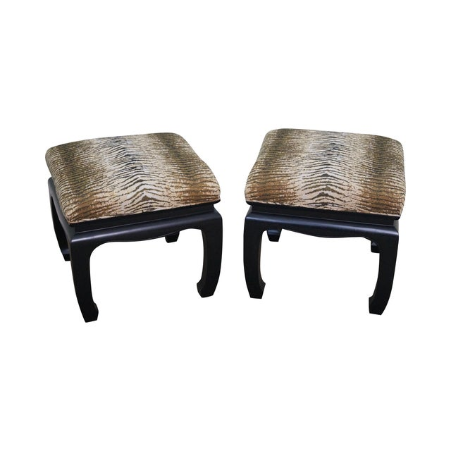 Image of Ebonized Asian Influenced Ottoman/Benches - A Pair