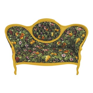 Yellow Tufted Floral Settee