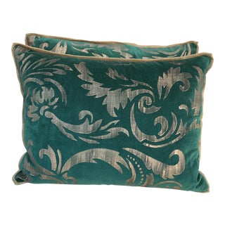 Teal Velvet Stenciled Pillows - a Pair