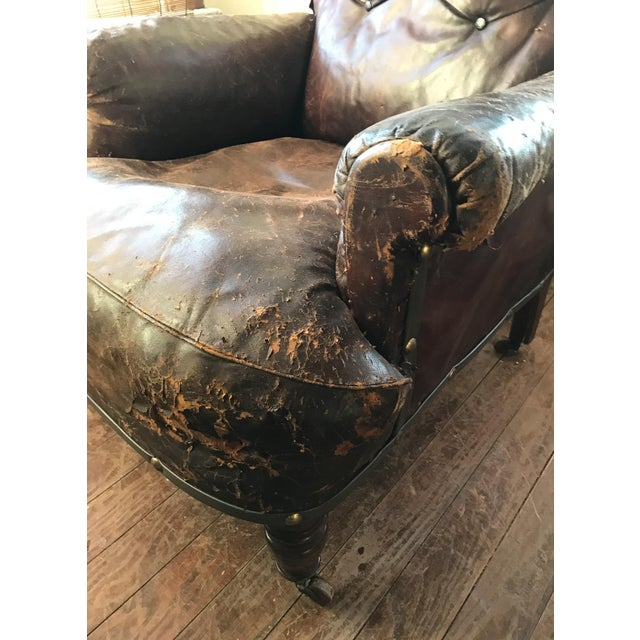 Old, Distressed Leather Club Chair - Image 8 of 10