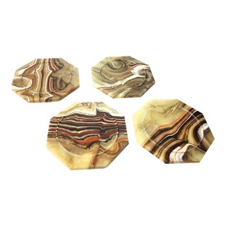 Vintage Mid-Century Large Hand Made Onyx Marble Coasters - Set of 4