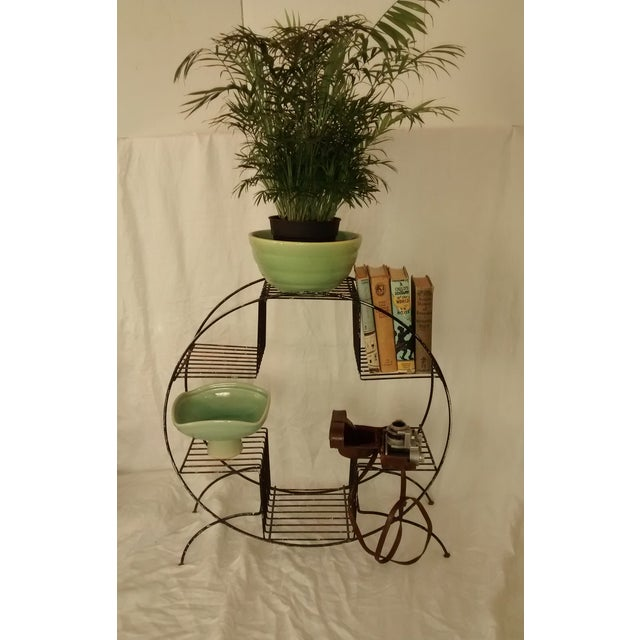 Mid Century Modern Wire Plant Stand Shelf - Image 2 of 8