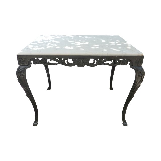 Antique Cast Iron Table with Marble Top - Image 1 of 8