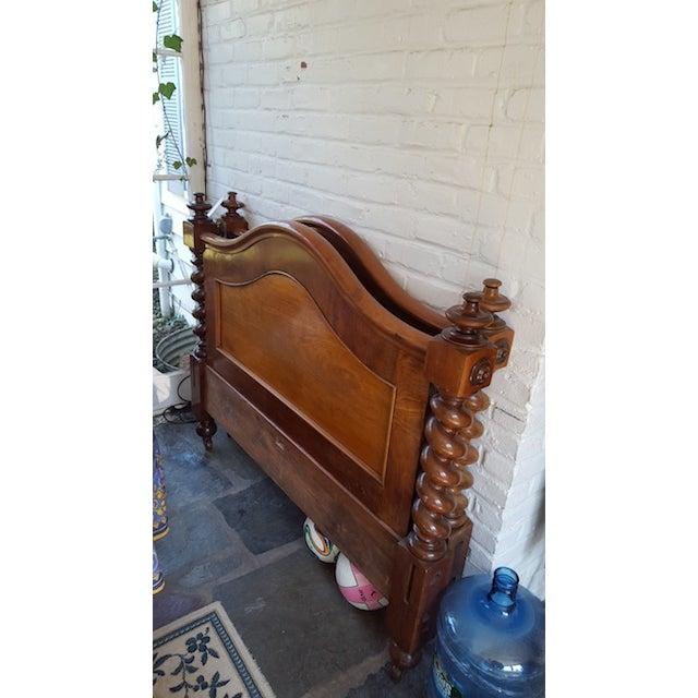 Image of Antique Burled Walnut Spindle Full Bed Frame