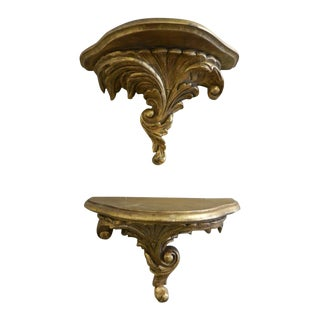 Florentine Gilt Wood Wall Brackets - A Pair