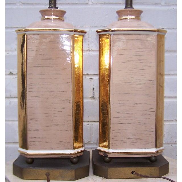 1950s Art Deco Style Ceramic Lamps - Pair - Image 5 of 8