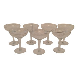 Mid-Century Hollow Stem Champagne Glasses - S/7