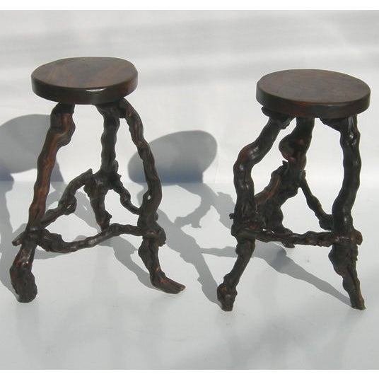 Wacky Burled Root Bar and Stools - Image 6 of 8