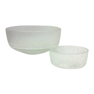 Mid-Century Chip and Dip Serving Bowls - A Pair