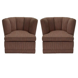 Pair of Channel Back Slipper Swivel Chairs in the Style of Billy Haines