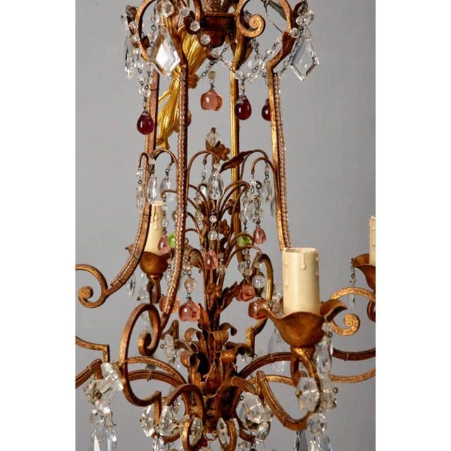 1920's Italian Four Light Crystal Chandelier With Colored Drops - Image 4 of 7