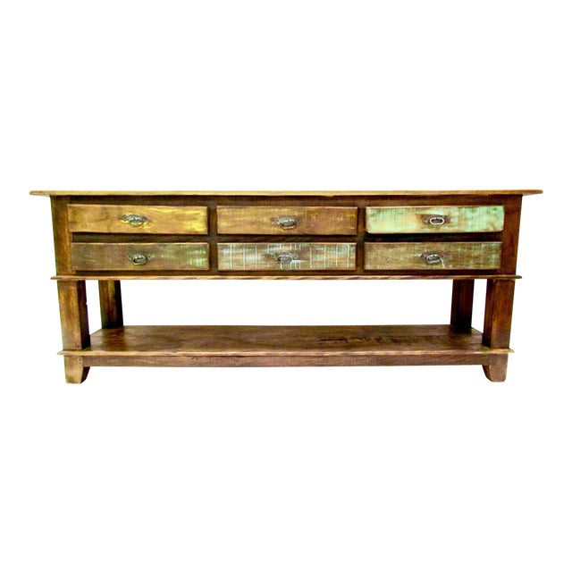 Vintage antique rustic six drawer console table eco