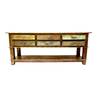 Rustic Six Drawer Console Table - Eco-Friendly Reclaimed Solid Wood