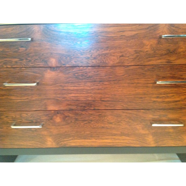 Milo Baughman-Style Rosewood & Chrome Dresser - Image 6 of 10