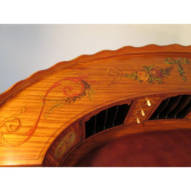 French Antique Satinwood Painted Carlton Desk - Image 8 of 10