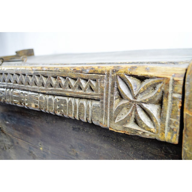 Ancient Kafiristan Wooden Dowry/Treasure Chest - Image 9 of 10