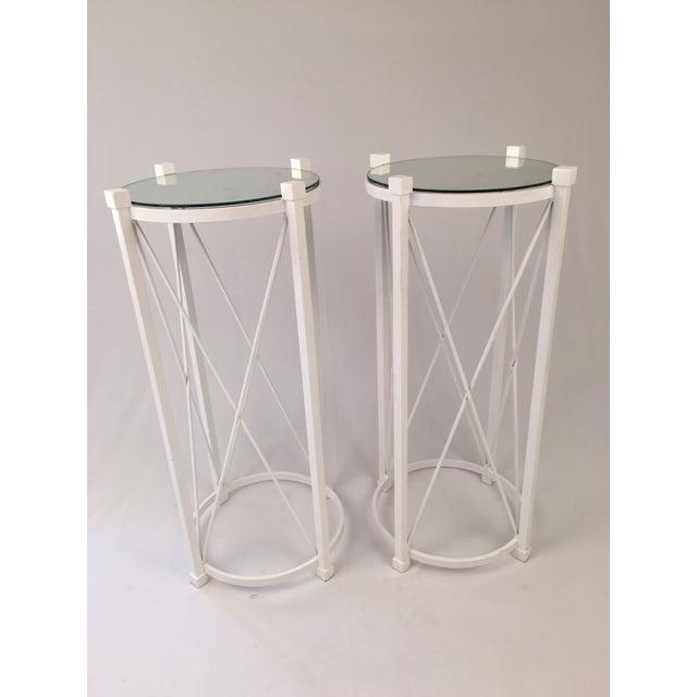 Image of Vintage White Iron Pedestal Tables - A Pair