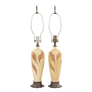 Ceramic French Style Lamps - A Pair